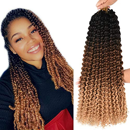 AliRobam 18inch Ombre Passion Twist Hair Water Wave Curly Braids For Woman Crochet Hair Synthetic Braiding Hair Extensions 6 Packs Sale (18INCH Black-dark brown-light brown)