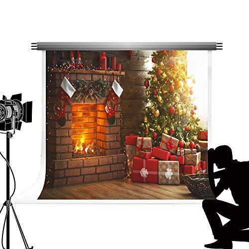Kate Navidad telón de Fondo de la Chimenea Fondo de árbol de Navidad de Brillo Navidad Fondo de Fotos de decoración para niños Estudio de fotografía 7x5ft / 2.2x1.5m