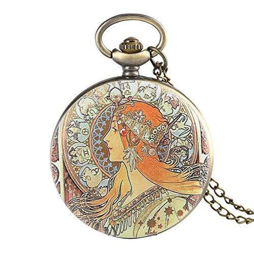 UIEMMY Pocket Watch Elegant Beauty Face Design Quartz Pocket Watch Unique Pendant Jewelry Necklace Sweater Chain Hour Fob Clock for Women Girls Mom