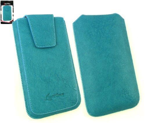 Emartbuy® Klassischer Bereich Blau Luxus PU Leder Slide in Hülle Tasche sleeve Halter ( Größe 3XL ) Mit magnetischer Klappen und Zuglasche Mechanismus Geeignet Für Slok D1 Dual Sim Smartphone