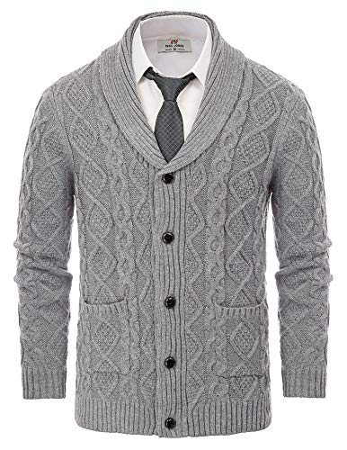 PJ PAUL JONES Men's Knitted Cardigan Sweaters Shawl Collar Cable Sweaters with Pockets Grey XL