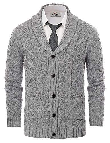Men's Cardigan Sweater Vintage Knit Shawl Collar Cable Irish Sweater Dark Gray L