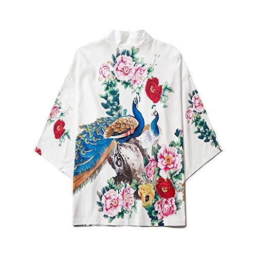 Kimono Cárdigan Hombre Abrigos Japones Estilo Yukata, Camisa Suelta De Manga Tres...