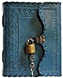TUZECH Leather Journal for Men and Women Leather Diary to Write Poems,Sketchbook, Record Keeping Notebook Personal Memoir with Lock and Key - Unlined (Ocean Blue)