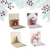 Ldawy Tarjeta de Navidad 3D, Paquete de 4 Tarjetas de Navidad Santa Claus Christmas Tree Stove Muñeco de Nieve Tarjeta Exquisita para Navidad