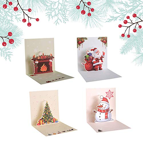 Ldawy Tarjeta de Navidad 3D, Paquete de 4 Tarjetas de