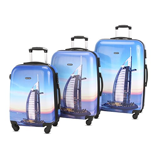 HyBrid & Company Luggage Set Durable Lightweight Hard Case Spinner Suitcase LUG3-PC13, 3 Pieces, City Building