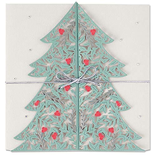Sizzix Thinlits Die Set 2PK 664467 Christmas Tree Card by Lisa Jones, Silver, One Size