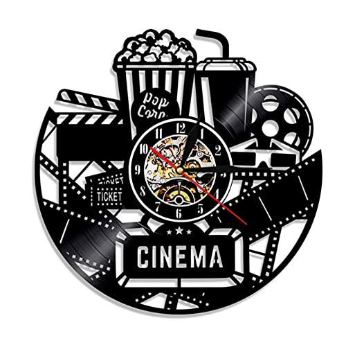 Illuminazione a LED a 7 colori con incisione cava Orologio da parete con disco in vinile 1 pezzo Orologio da cinema Film Orologio Orologio da tempo Popcorn Coca Cola per gli amanti del cinema Regalo 3