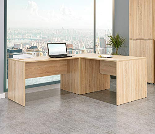 Eckschreibtisch - Schreibtisch - Computertisch [Funktional und Robust] - Winkelkombination - Bürotisch - PC Tisch - Sonoma-Eiche ca.: B 185/185 x H 75 x T 75 cm | Büro Möbel