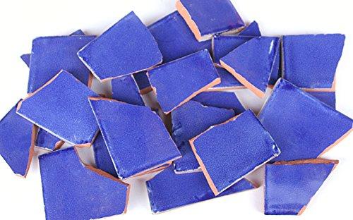 900g Bruchmosaik, Mosaikfliesen aus handgefertigten Fliesen - blau gewaschen