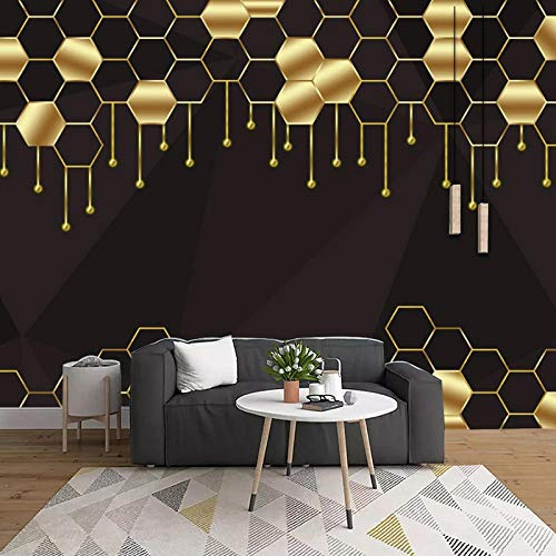 XIAOHUKK Papel pintado autoadhesivo 3d vinilo de PVC impermeable abstracto patrón geométrico dorado papel tapiz decorativo para decoración del hogar cartel de calcomanía de arte