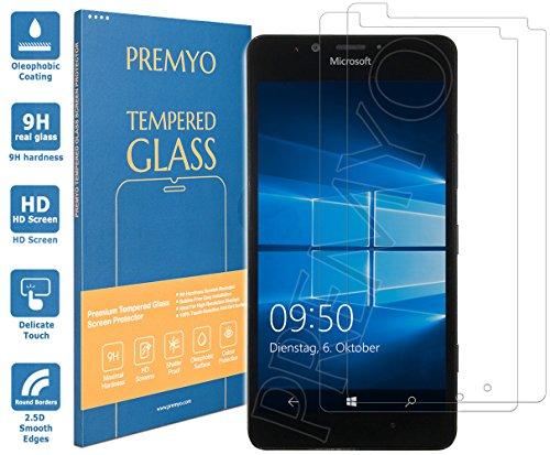 PREMYO 2 Pezzi Pellicola Vetro Temperato Compatibile con Microsoft Lumia 950 Protezione Schermo Durezza 9H Bordi 2,5D Anti-Graffi Bolle Impronte