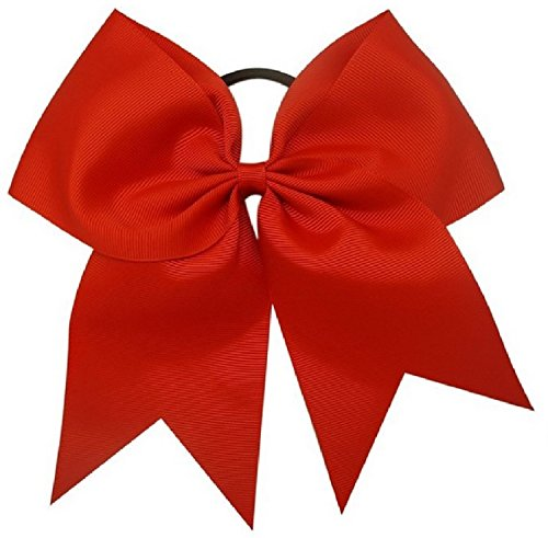 Kenz Laurenz Cheer Bows Red Cheerleading Softball - Gifts for Girls and Women Team Bow with Ponytail Holder Complete Your Cheerleader Outfit Uniform Strong Hair Ties Bands Elastics (13)