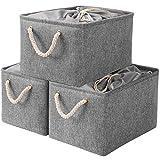 Yawinhe Cestas de almacenamiento plegables con cubierta de cordón y 2 asas, cubos de almacenamiento plegables de tela para juguetes, estantes, ropa, papeles y libros