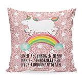 Mr. & Mrs. Panda Kissenhülle, Sofakissen, 40x40 Kissen Einhorn Regenbogen mit Spruch - Farbe...