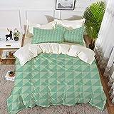 Bettwäsche - Bettbezug-Set, Minze, symmetrische, halb geschnittene Quadrate mit Dreiecken, Karomuster im Retro-Stil, Minze und hypoallergenes Bettbezug-Set aus Mikrofaser mit 2 Kissenbezügen 50 x 75 c