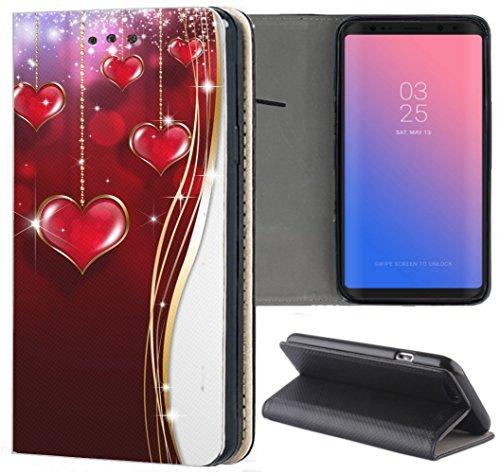 Samsung Galaxy S3 / S3 Neo Hülle Premium Smart Einseitig Flipcover Hülle Samsung S3 Neo Flip Hülle Handyhülle Samsung S3 Motiv (1146 Herz Herzen Rot Weiß Gold)