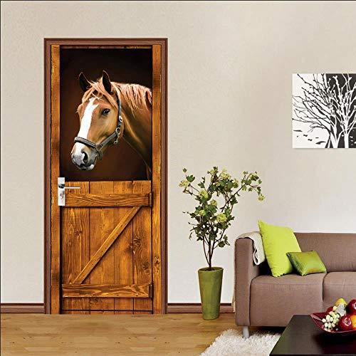 BXZGDJY 3D Türaufkleber Schlafzimmer Türen Renovierung Wasserdichte Tür Aufkleber Einfache Wohnzimmer Wandaufkleber Tapetensticker Fensterbild Wandaufkleber80X200Cm Pferd