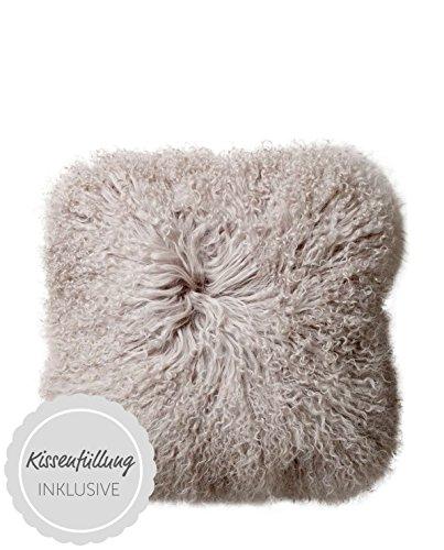 Bloomingville kussensloop van echt Mongools lam grijs 35 x 35 cm