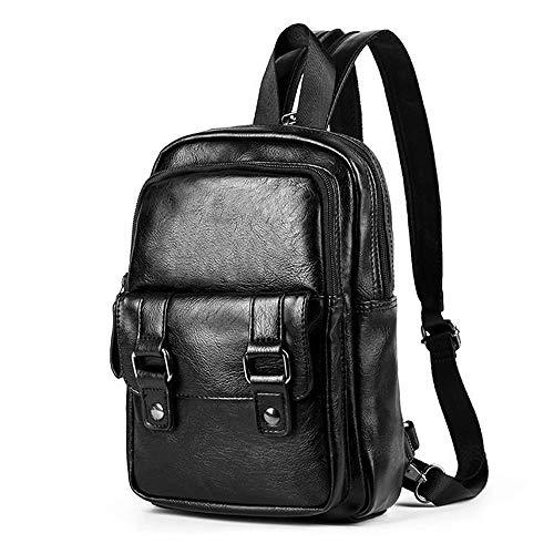 SPAHER Brusttasche Leder Sling Rucksack Multifunktionale Schultertasche Mode Crossbody Tasche Reiserucksack für Damen Herren Klein Schwarz