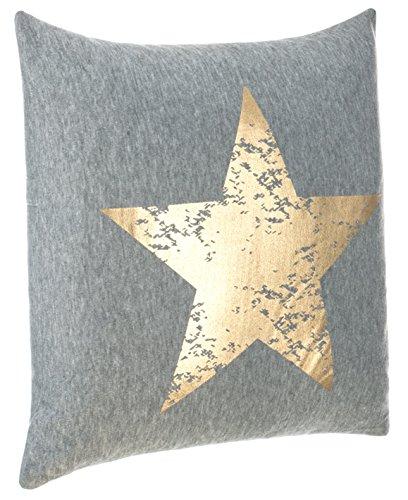 Cojín Couch Cojín Diseño Cojín Estrella Impresión - con Relleno Agradable y Suave, poliéster, Gris/Dorado, Aprox.45x45 cm