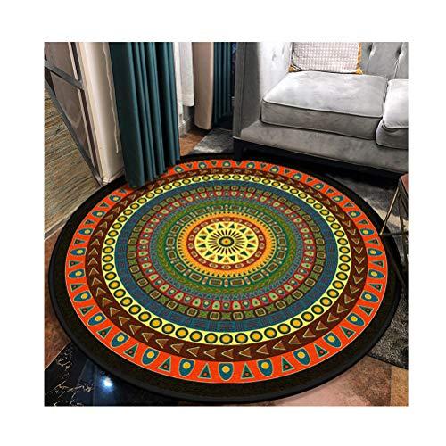 Siunwdiy Vintage Runder Teppich Traditioneller Runder Teppich mit Blumenmuster im Mandala-Stil Marokko Design Wohnzimmer Teppich weiche Kurze Flormatte rutschfest,D,Diamètre180cm