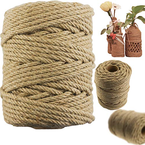 LeonBach 1 Roll 164 Feet 6mm Natural Jute Rope, Twine Rope Craft Rope Natural Jute Twine Brown Rope for Crafting, Decorating, Packing, Cat Scratching Post