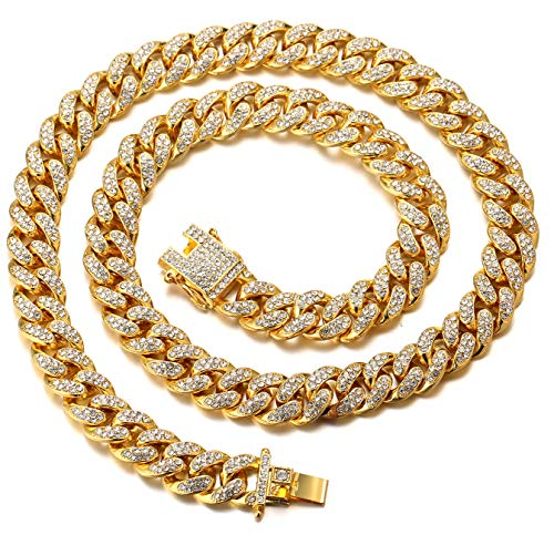 Halukakah Gold Chain Iced Out for Men,Men's 14MM 18k Real Gold Plated Miami Cuban Link Chain Choker Necklace 18'(45cm),Full Cz Diamond Cut Prong Set,Gift for Him