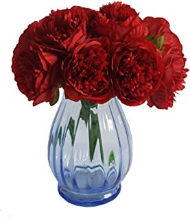Eternal Blossom Silk Peony Bouquet, 5 Artificial Bouquets Bridal Bouquet Wedding Party Flower Home Garden Decoration (Red)