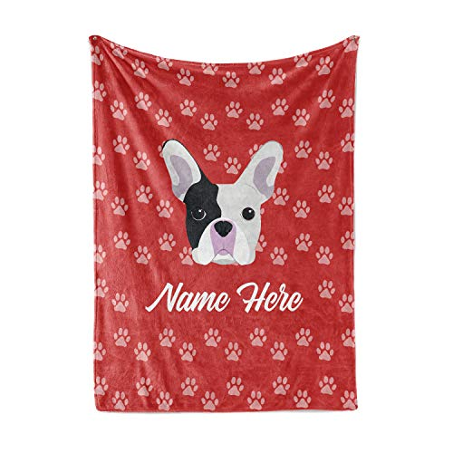 Personalized Custom Pet Frenchie Fleece and Sherpa Throw Blanket for Men Women Kids Babies - Blankets Perfect Dogs Moms Dads Bedtime Bedding Gift for Dog Lovers