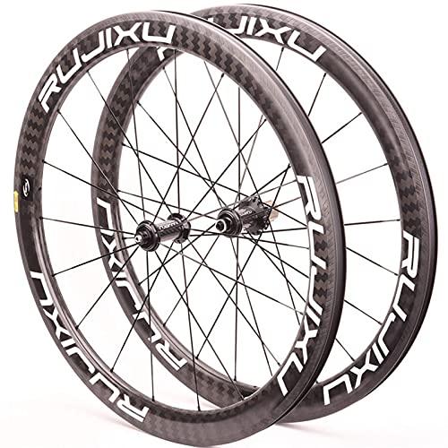 XCZZYC Juego de Ruedas de Bicicleta de Carretera de Fibra de Carbono 700C Cojinete de cerámica Rueda de Bicicleta Delantera Trasera V Freno 8 9 10 11 Velocidad de liberación rápida (Color: Negro, T