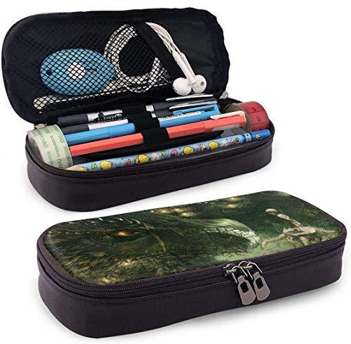 Drachen Mädchen Wald Kunst Muster Junge Mädchen Leder Federmäppchen Stifte Radiergummi Schule Kosmetiktasche mit Reißverschluss