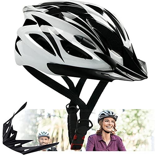 Adults Bike Helmet - Bicycle Helmet Mountain Bike Helmet for Adults Men Women,Cycle Helmet with Detachable Visor, MTB Road Helmets Street Helmet,Adjustable Size Recreational Helmets,White (22.4-24 in