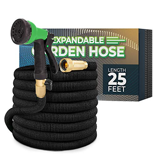 Joey's Expandable Garden Hose with 8 Function Hose Nozzle, Lightweight Anti-Kink Flexible Garden Hoses, Extra Strength Fabric with Double Latex Core (25 FT, Black)
