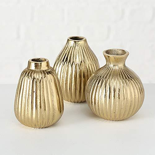 mucplants 3er Set Vasen 12cm Moderne Dekovasen Blumenvasen Tischvasen für Trockenblumen aus Porzellan/Aluminium (Gold)