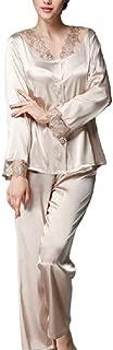 Howely Women's Satin Loungewear Lace Pajama Sleepwear Set Top with Pants