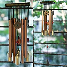 Paradigm Pictures Home Decoration Items Wind Chimes for Home (Golden, 8 Pipe 4 Bell)