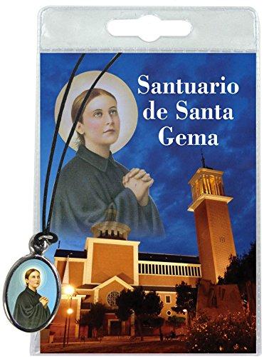 Medalla Santa Gema con cordón y oración en italiano