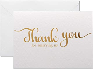 MAGJUCHE Thank You for Marring Us, Gold Foil Wedding Day Card to Your Officiant, Priest, Rabbi, Deacon Note Card to Go W/Gift