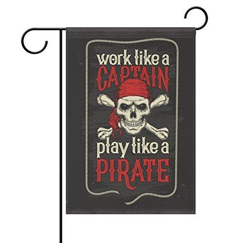Edwiin Jackson Spelen Als Piraat Rode Bandana Jolly Roger Vlag Tuin Yard Vlag 12 x 18 Dubbelzijdig, Werken Als CaptaSkull Decoratieve Tuin Vlag Banner voor Outdoor Home Decor Party