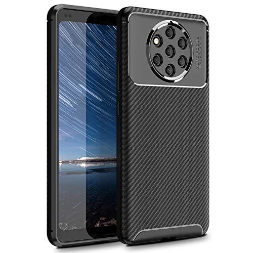 MYLBOO Custodia Nokia 9 PureView, Cover Antiurto Morbida e Sottile con Custodia Protettiva Ibrida in Silicone TPU Flessibile Custodia in Fibra di Carbonio per Nokia 9 PureView (Nero)