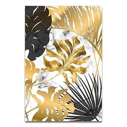 Canvas schilderij decoratie, Canvas Muur Foto's Nordic Plants Golden Leaf Schilderen Posters En Prentkunst Beeld For Woonkamer Slaapkamer Dinning Modern Decor