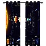 MENGBB Cortina Opaca Microfibra Infantil 280x260cm Planeta Sistema Solar 95% Opaca Cortina aislantes de frío y Calor Decorativa con Ojales Estilo para Salón Habitación y Dormitorio