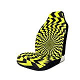 biye Design Car Seat Covers Automotive Interior Accessories Front Seat Cover Abstract Op Art Yellow and Black Background. Oposite Arrows Forming A Vortex Universal Fit for Most Cars 20.5X33 inch
