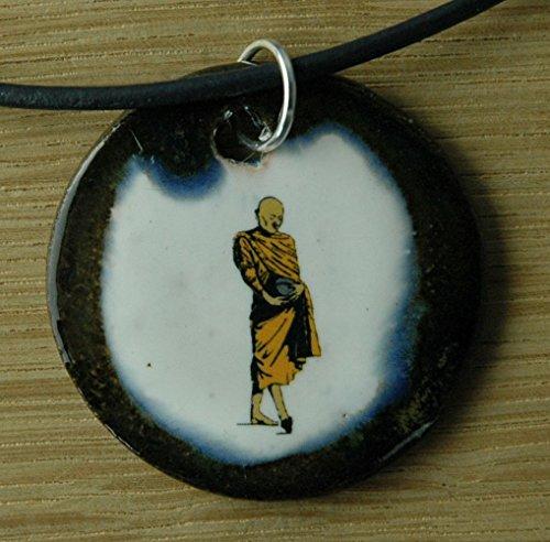 Echtes Kunsthandwerk: Toller Keramik Anhänger Siddhartha; Gautama, Buddha, Buddhismus, Reinkarnation, Weltreligion, Nirvana