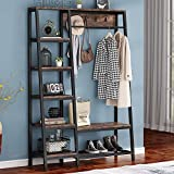Tribesigns Industrial Entryway Hall Trees with Hooks, Storage Shelves and Bench, Freestanding Closet Organizer Clothes Rack with Coat Rack, Closet Garments Shelf for Hallway, Bedroom, (Vintage Brown)