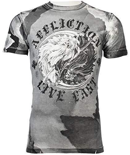 Affliction Mens T-Shirt YIN YANG Skull Reapers Tattoo Motorcycle Biker (Medium) Black