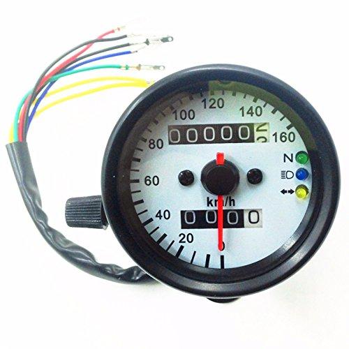 Luz de fondo LED de señal de motocicleta odómetro KMH velocímetro calibre CB Cafe Racer XL