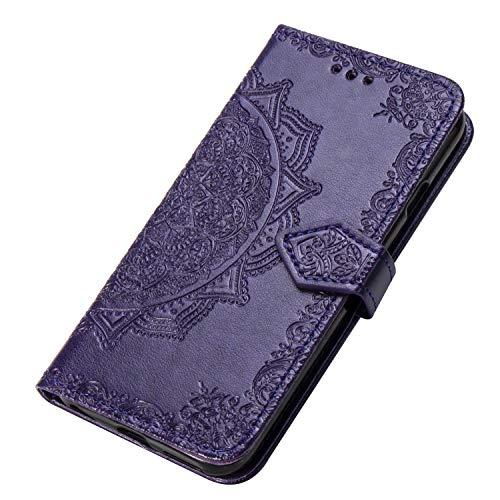 HAOYE Hülle für Alcatel 3X 2019 Hülle, Mandala Geprägtem PU Leder Magnetische Filp Handyhülle mit Kartensteckplätzen/Standfunktion, [Anti-Rutsch Abriebfest] Schutzhülle. Lila